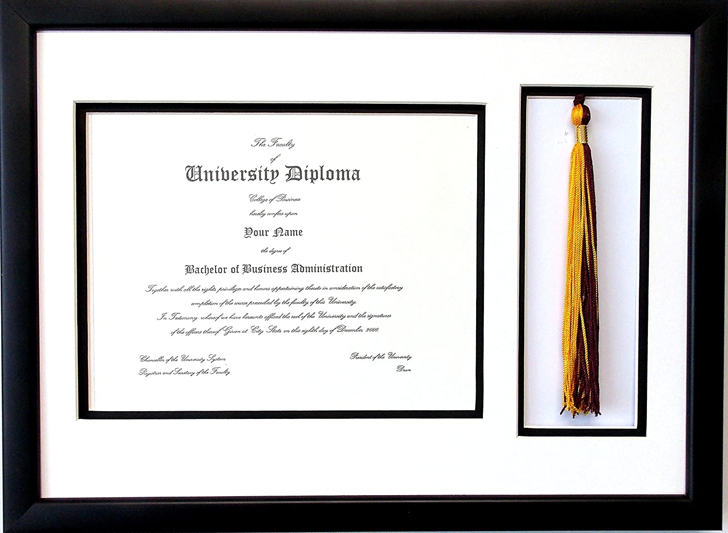 Graduation Certificate Diploma Document 8.5x11 Tassel Opening Custom Black Picture Frame Unit Photo Frame Ready