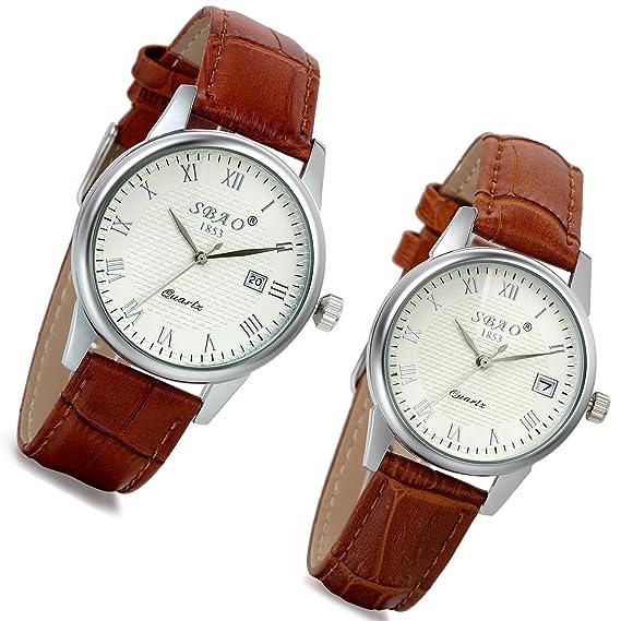 c656dfcba7 Lancardo orologio da polso con cinturino in pelle marrone per uomo donna, orologio  con calendario quadrante numeri romani per Coppia/Lovers, ...