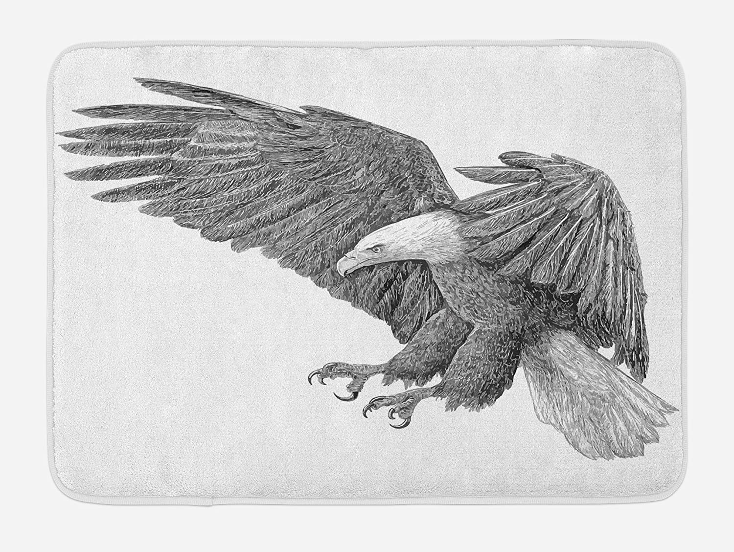 Ambesonne eagle bath mat black and white pencil drawing style eagle with detailed features wild nature plush bathroom decor mat with non slip