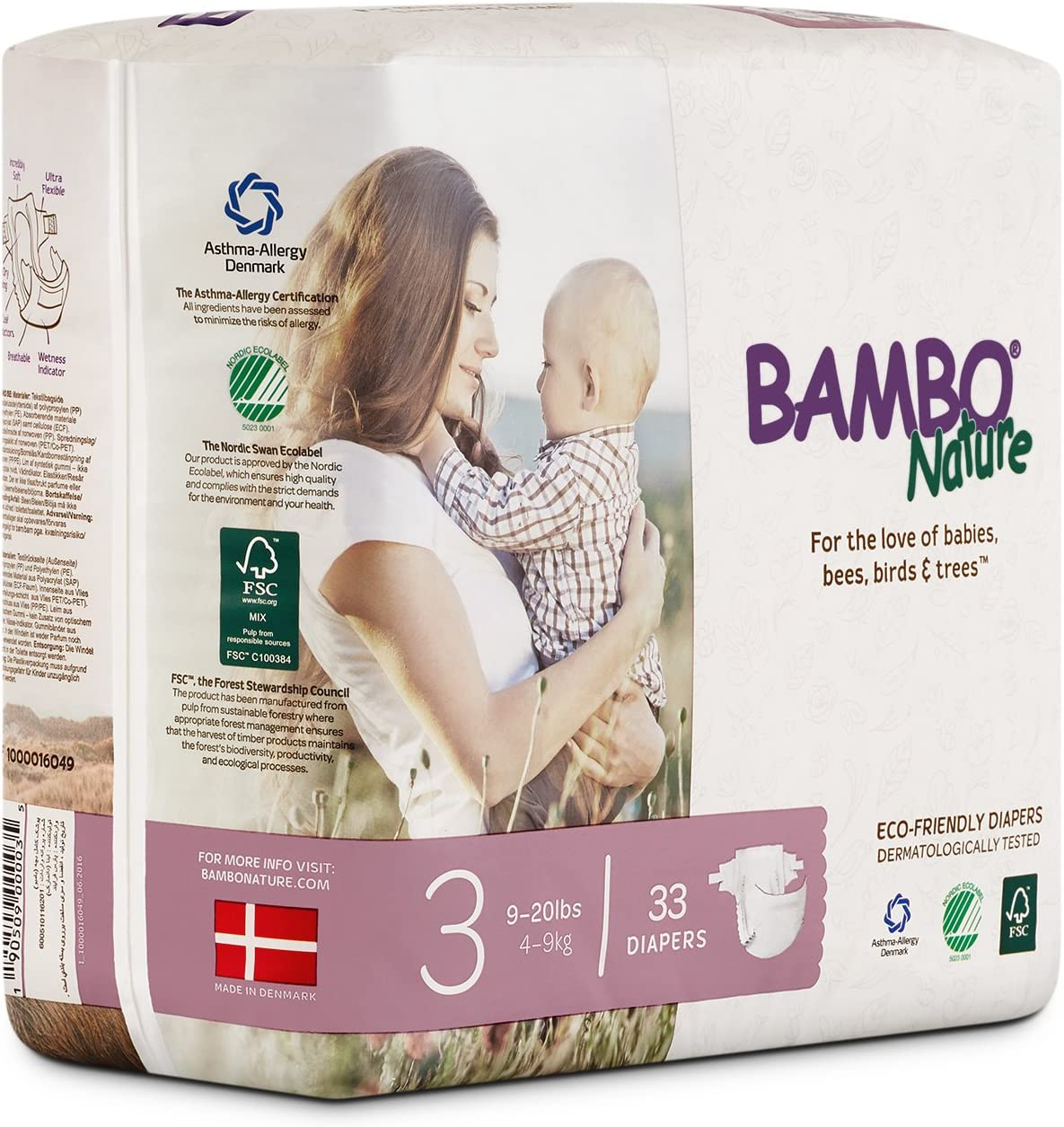 132 Count 6 Packs of 22 Size 6 Bambo Nature Premium Baby Diapers 35-66 lbs