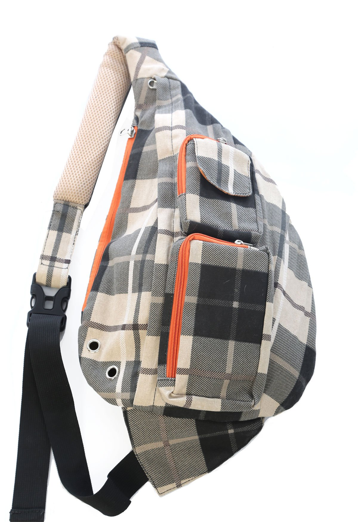 Meru Sling Backpack Bag - Small Single Strap Crossbody Pack for Women and Men (Plaid)