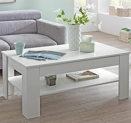 WOHNLING Murphy Couch Wohnzimmertisch 90x43x60 cm mit Ablage Holz Schwarz//Weiß