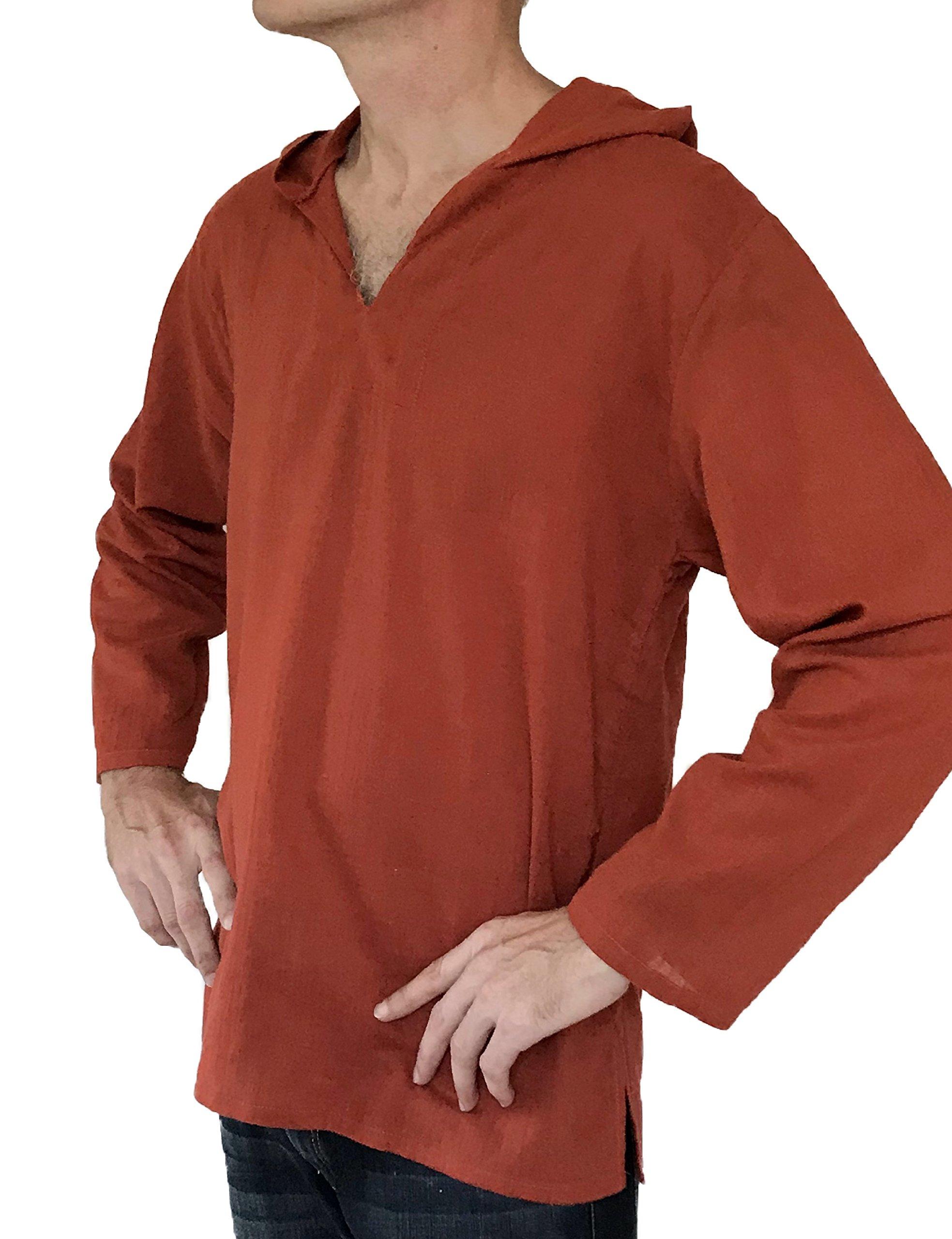 Love Quality Men's Hoodie Hippie Shirts Beach 100% Soft Cotton Top Yoga Shirt Boho (XX-Large, Brick)