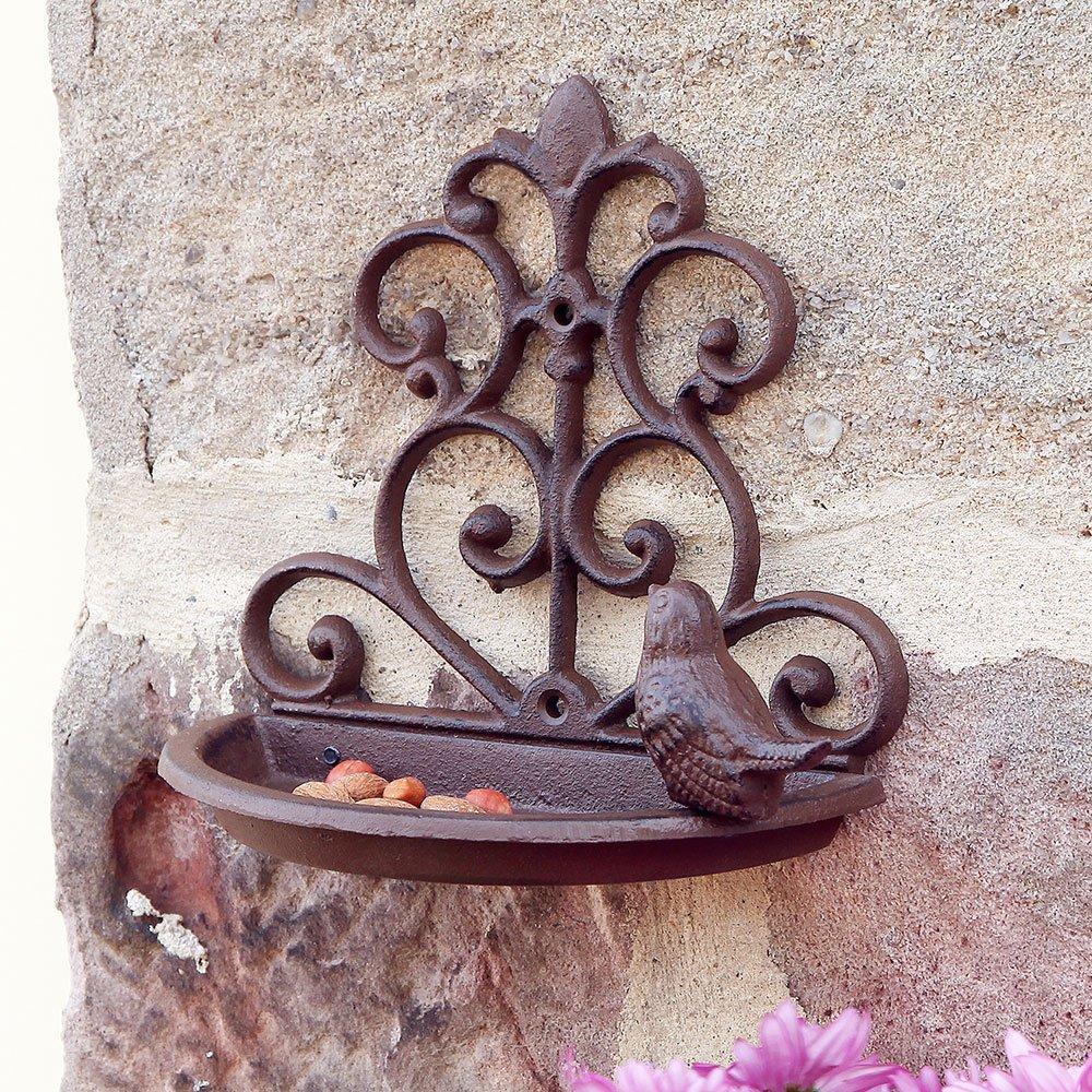 Mangeoire à oiseaux de fixation murale de jardin en fonte Marron antique (Y316)–Inviter la Faune naturelle dans votre jardin avec cette Magnifique pour oiseaux–H 17x l 18x P 10cm Dibor
