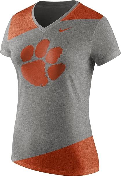 c2622f89 Nike Women's Clemson Tigers Grey/Orange Champ Drive Football Dri-Blend  V-Neck