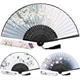 EAONE 3 Pcs Hand Folding Fan, Abanicos de Mano Chinese Vintage Style Handheld Fan with Fabric Sleeve, Silk Fan with…