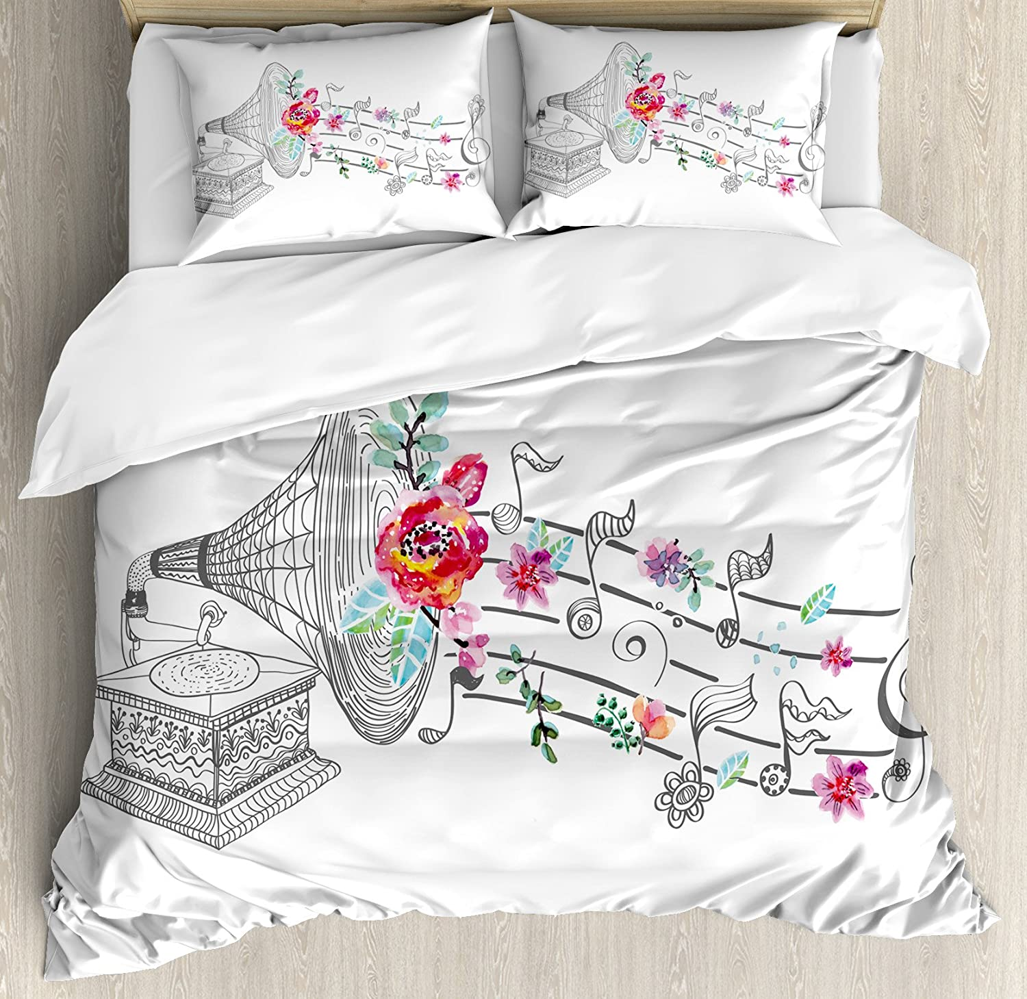 Decorative 2 Piece Bedding Set with 1 Pillow Sham Green Twin Size Ambesonne Dragonfly Duvet Cover Set Doodle Style Giant Dragonfly on Lake Bushes Nature Exotic Picture Art