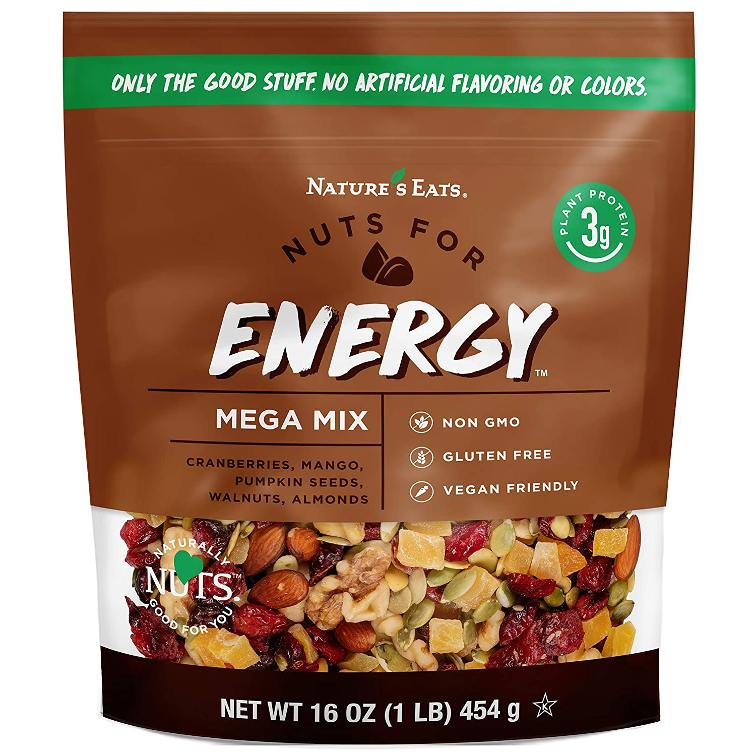 Nature's Eats Nuts for Energy Mega Trail Mix, Oz Assorted 16 Ounce