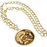 NEW LARGE GOLD MEDALLION 70'S RETRO FANCY DRESS PIMP (accesorio de disfraz)