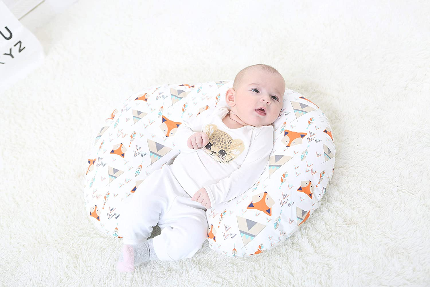 Colorful Triangle Baby Nursing Pillow Slipcover Only Designed for Miracle Baby Nursing Breastfeeding Pillows