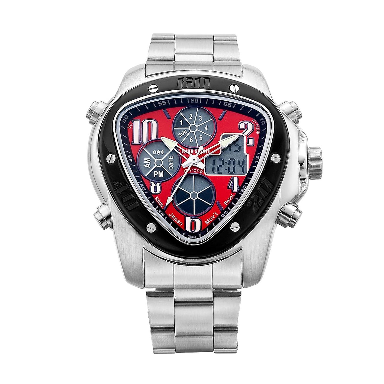 Euro Spirit Chronograph Edelstahl rot Fall Herren Quarz Analog Armbanduhr
