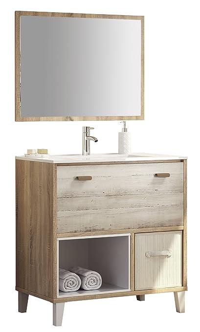 Mueble para aseo o baño color cambrian y pino, incluye lavabo de ...