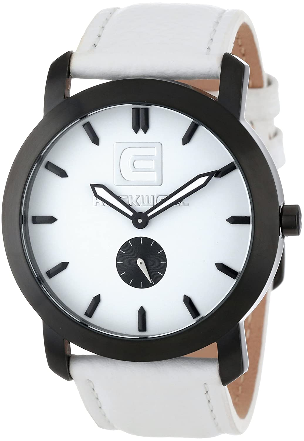 Rockwell Time Unisex CT108 Cartel White Leather Band White Dial Black Case Armbanduhr
