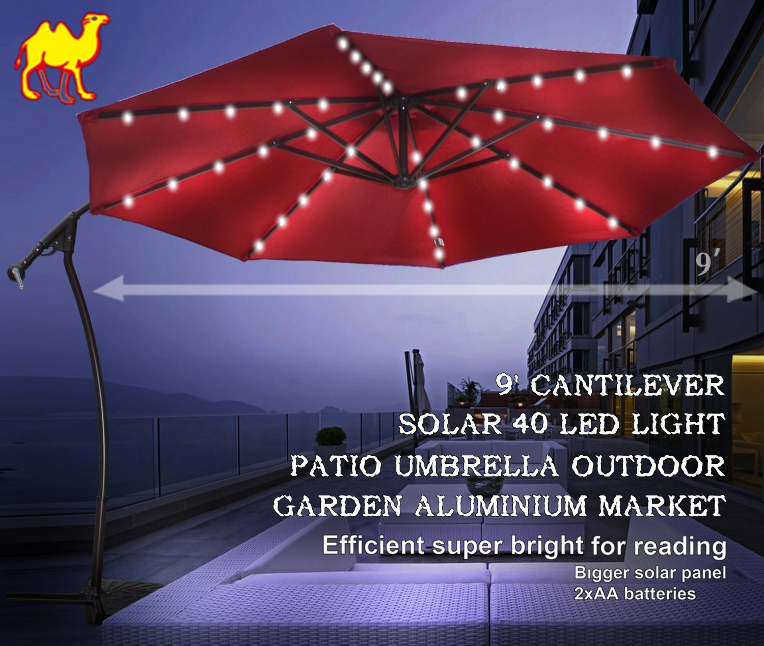 STRONG CAMEL 9' CANTILEVER SOLAR 40 LED LIGHT PATIO HANGING UMBRELLA OUTDOOR GARDEN ALUMINIUM MARKET-BURGUNDY by 008568770489