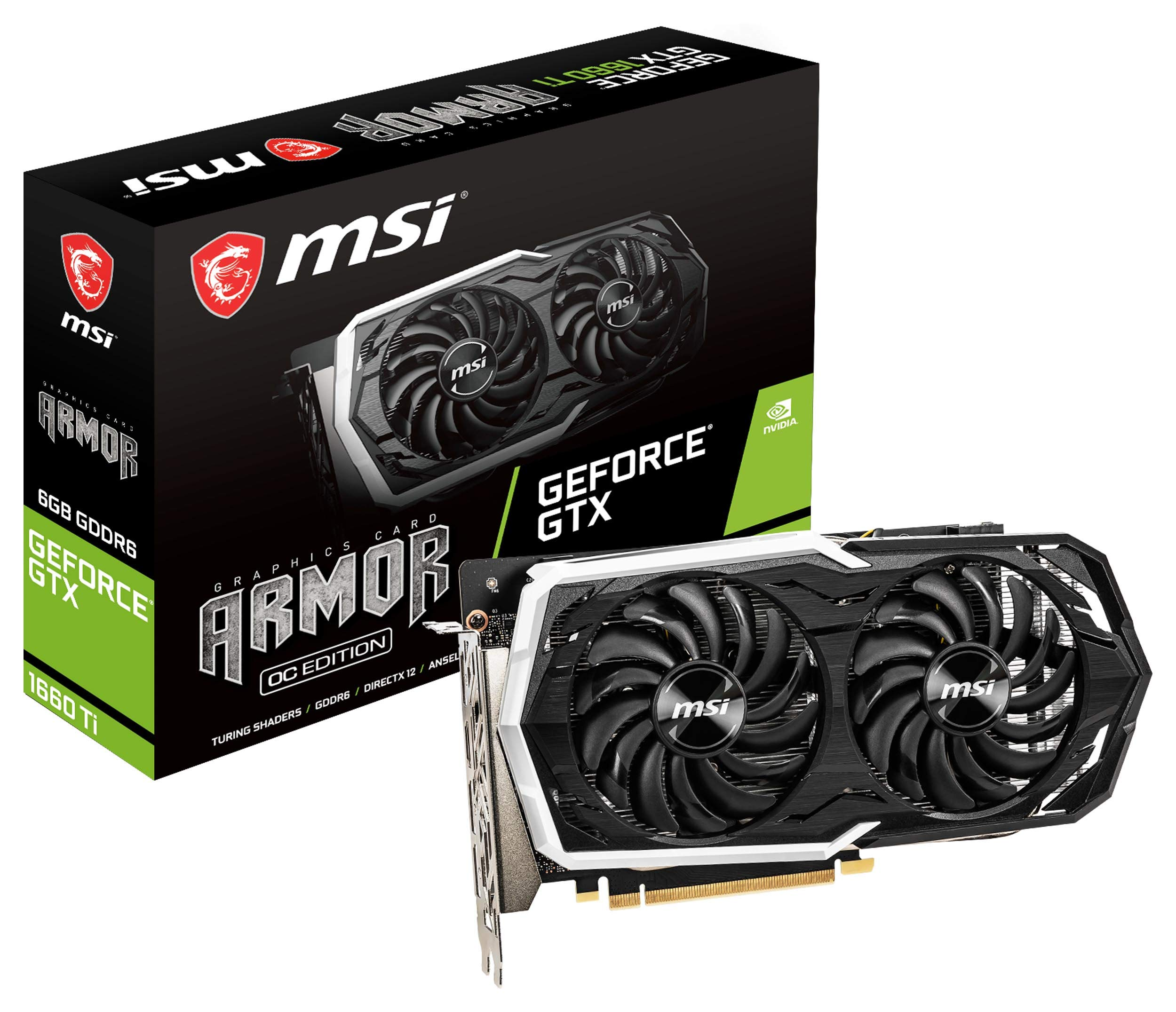 MSI Gaming GeForce GTX 1660 Ti 192-bit HDMI/DP 6GB GDRR6 HDCP Support DirectX 12 Dual Fan VR Ready OC Graphics Card (GTX 1660 TI Armor 6G OC)