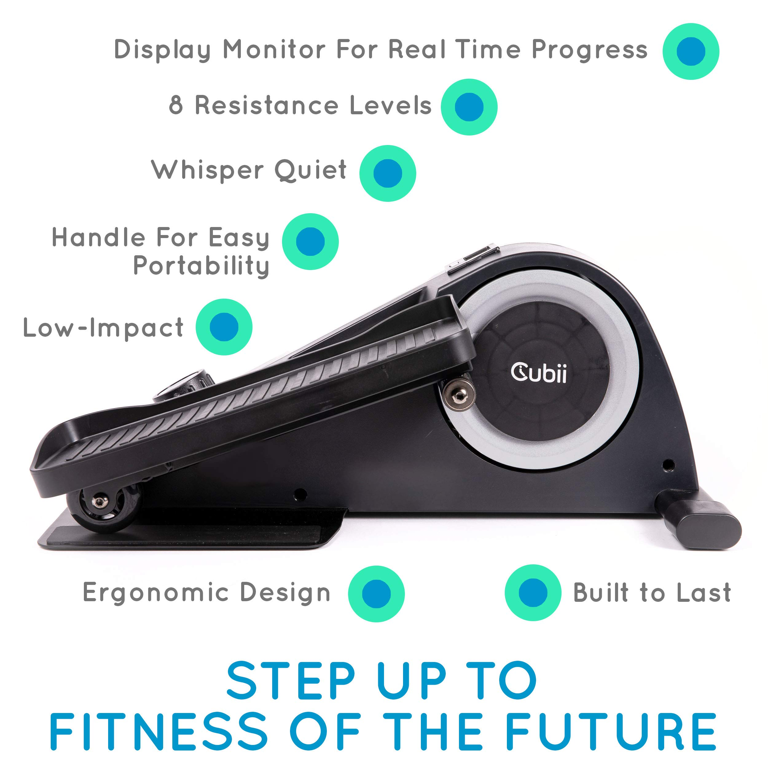 Cubii Jr: Desk Elliptical w/Built in Display Monitor, Easy Assembly, Quiet & Compact, Adjustable Resistance (Silver) by Cubii (Image #2)