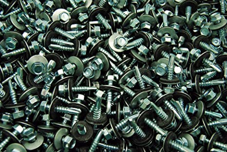 """100  Hex Rubber Washer Head #10 x 1-1//2/"""" Self-Drilling Roofing Siding Screw ZINC"""