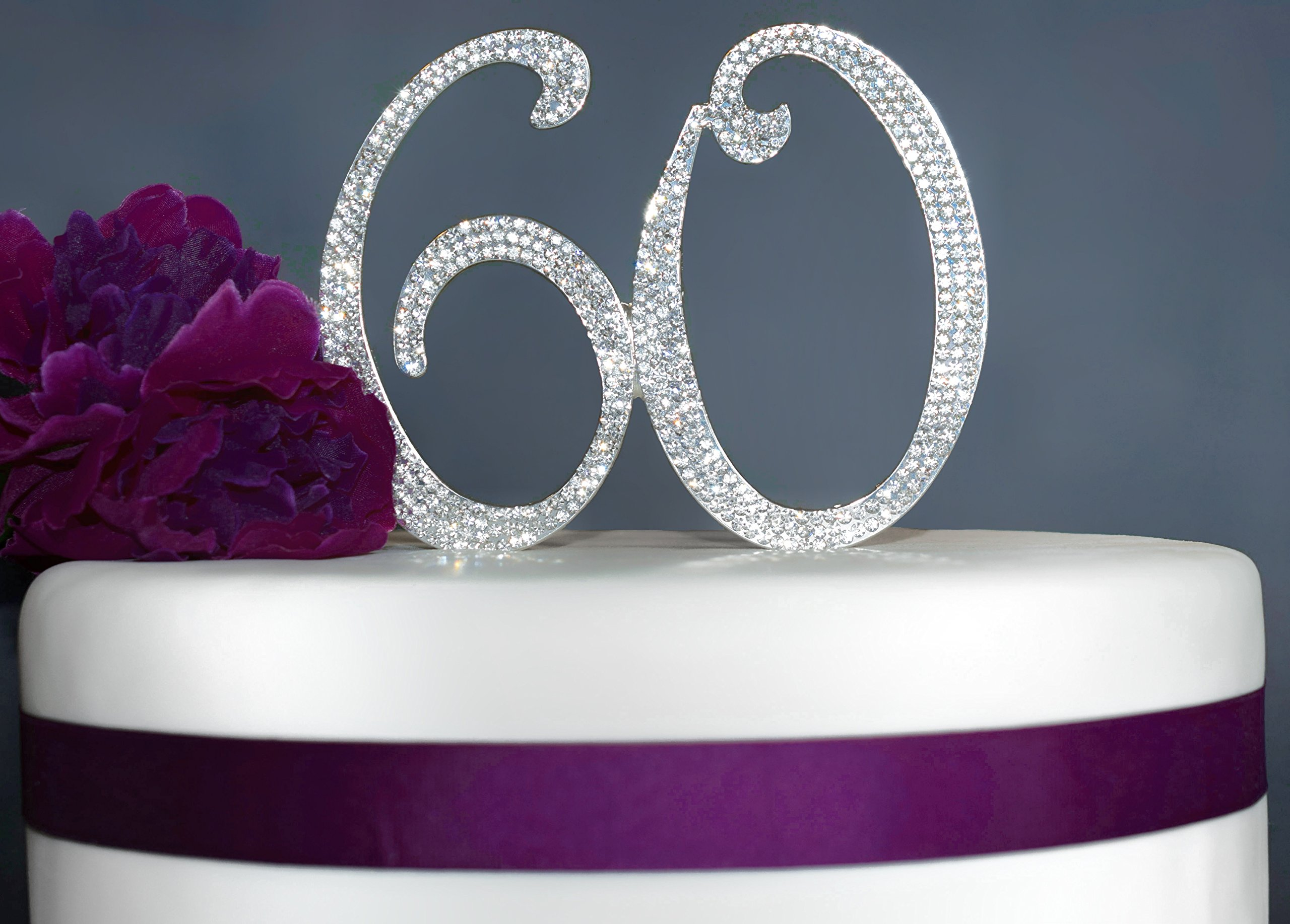 60 Rhinestone Birthday Cake Topper | Premium Sparkly Bling Crystal Diamond Rhinestone Gems | 60th Birthday or Anniversary Party Decoration Ideas | Perfect Keepsake (60 Silver)