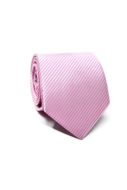 Oxford Collection Corbata de hombre Rosa a Rayas 100% Seda