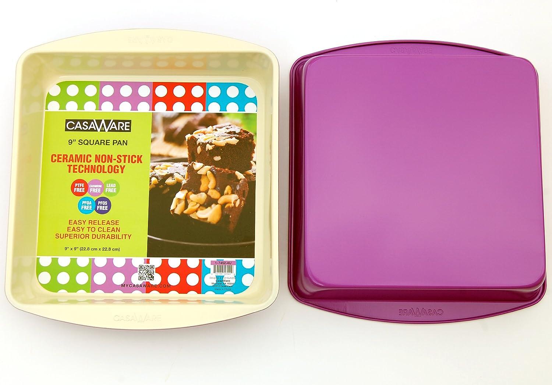 casaWare Ceramic Coated NonStick 9-Inch Square Pan (Cream/Purple)