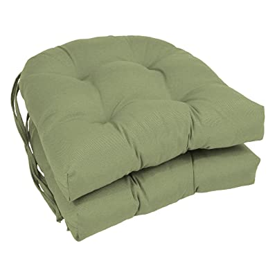 """Blazing Needles Solid Twill U-Shaped Tufted Chair Cushions (Set of 2), 16"""", Sage: Home & Kitchen"""