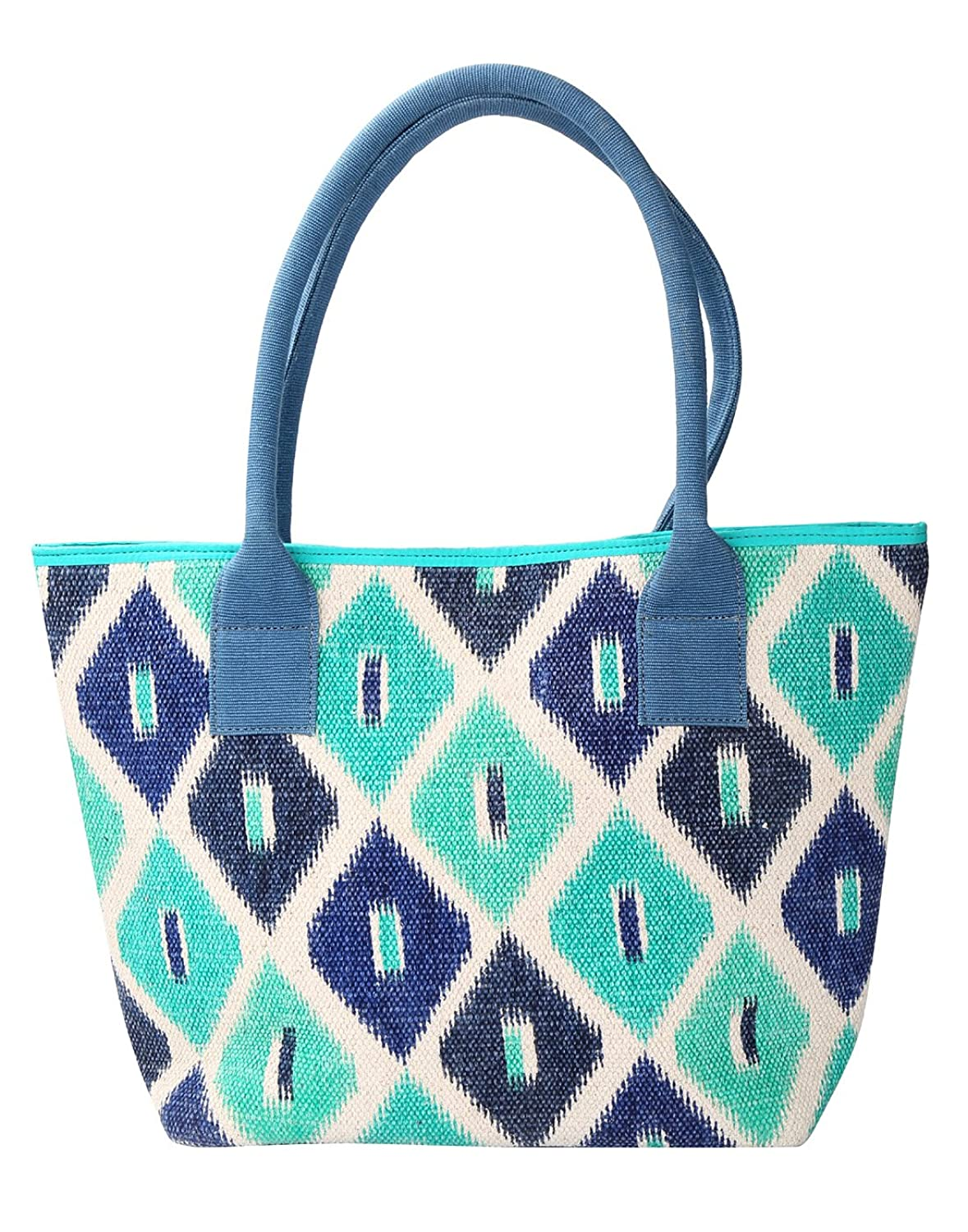 Attractive Cotton & Durrie Green Tote Bag Quatrefoil Hand Block Printed