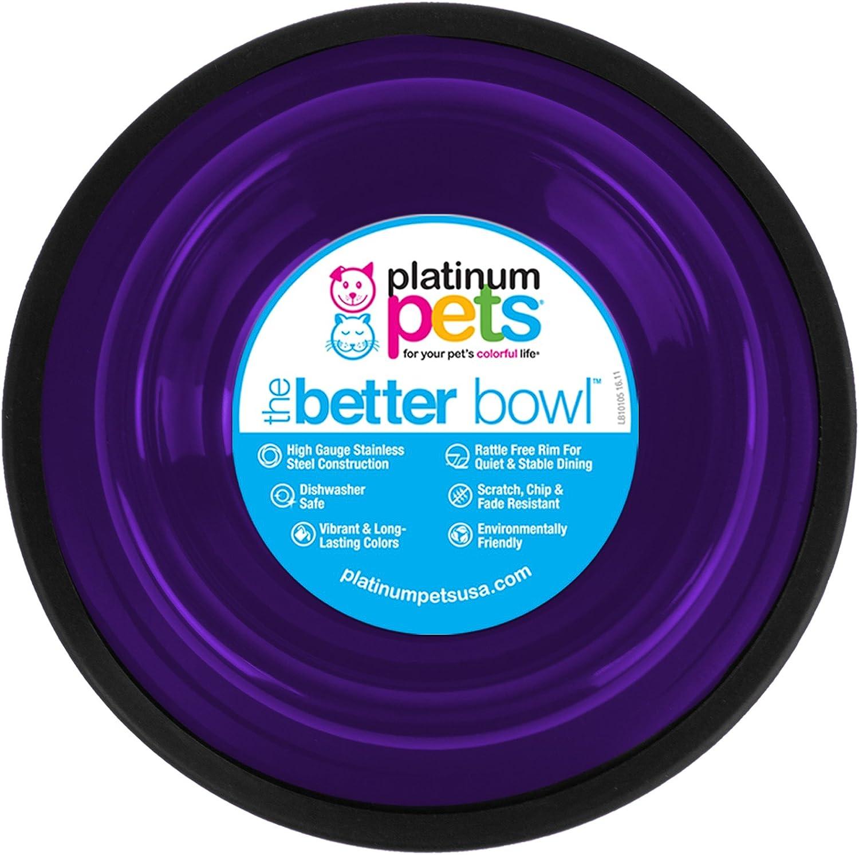 Platinum Pets Non-Embossed Non-Tip Stainless Steel Cat/Dog Bowl, Electric Purple, Medium