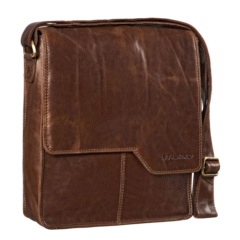STILORD 'Sheffield' Cross Body Bag läder män för 13,3 tum MacBooks medium axelväska väska väska bärbar dator väska vintage messengerväska äkta läder Antique Brown