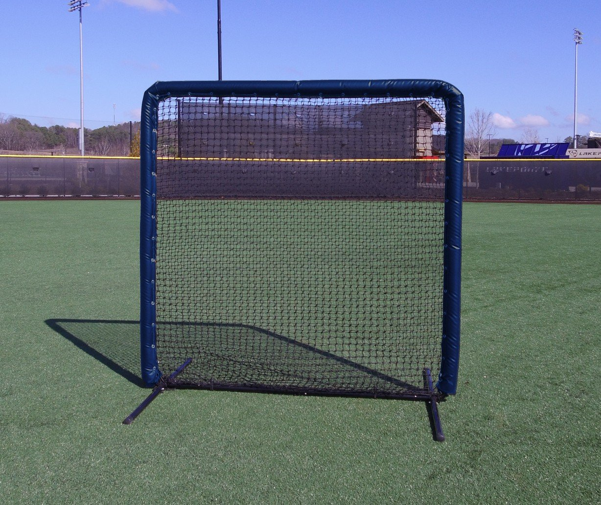 Armor Series 7X7 Protective Screen with Screen Bulletz. Baseball/Softball Padded Practice Screen Net with Vinyl Padding. Choose Color! (Navy) by Armor