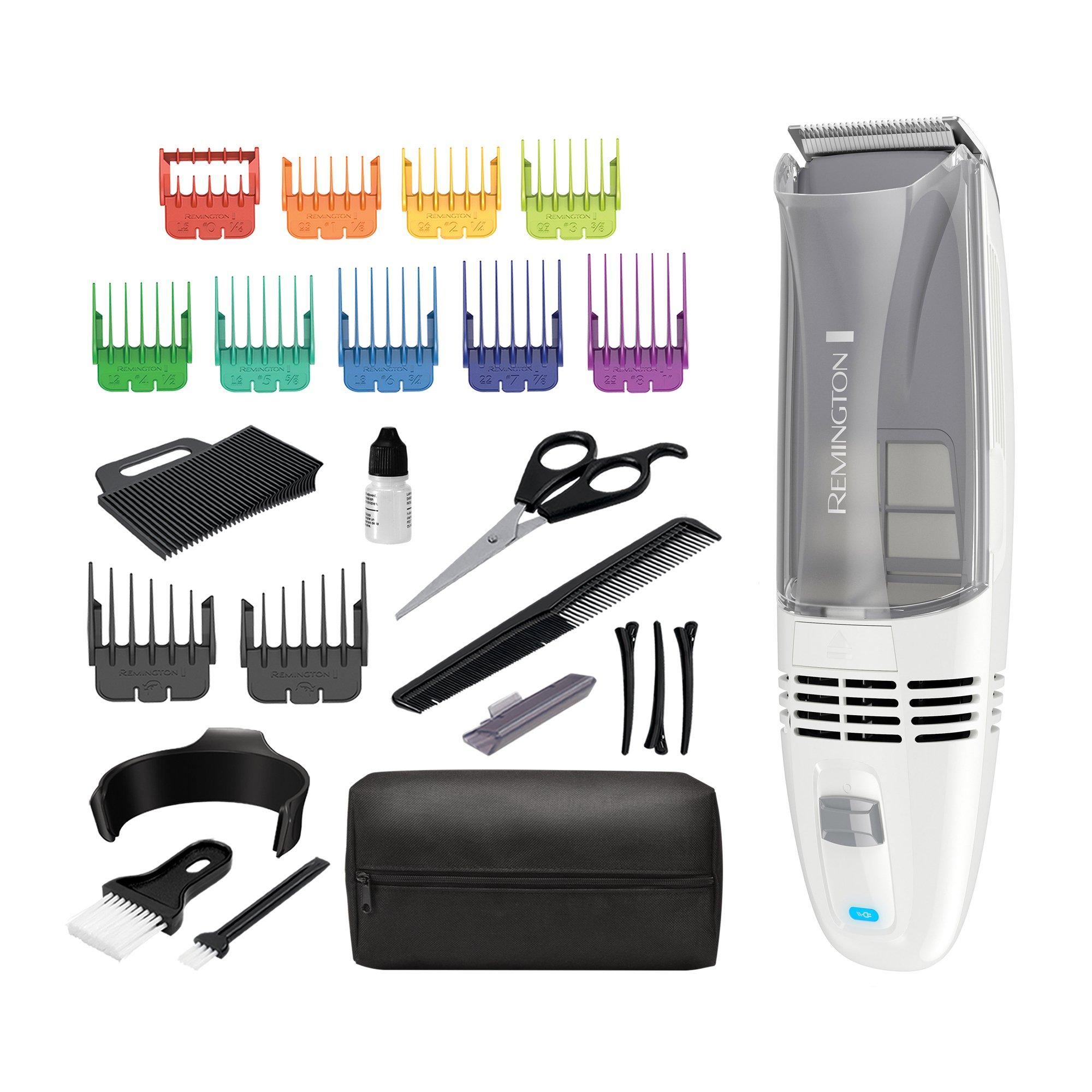 Remington HC6525 Color Comb Vacuum Haircut Kit, Vacuum Trimmer, Hair Clippers, Hair Trimmer, Clippers, White