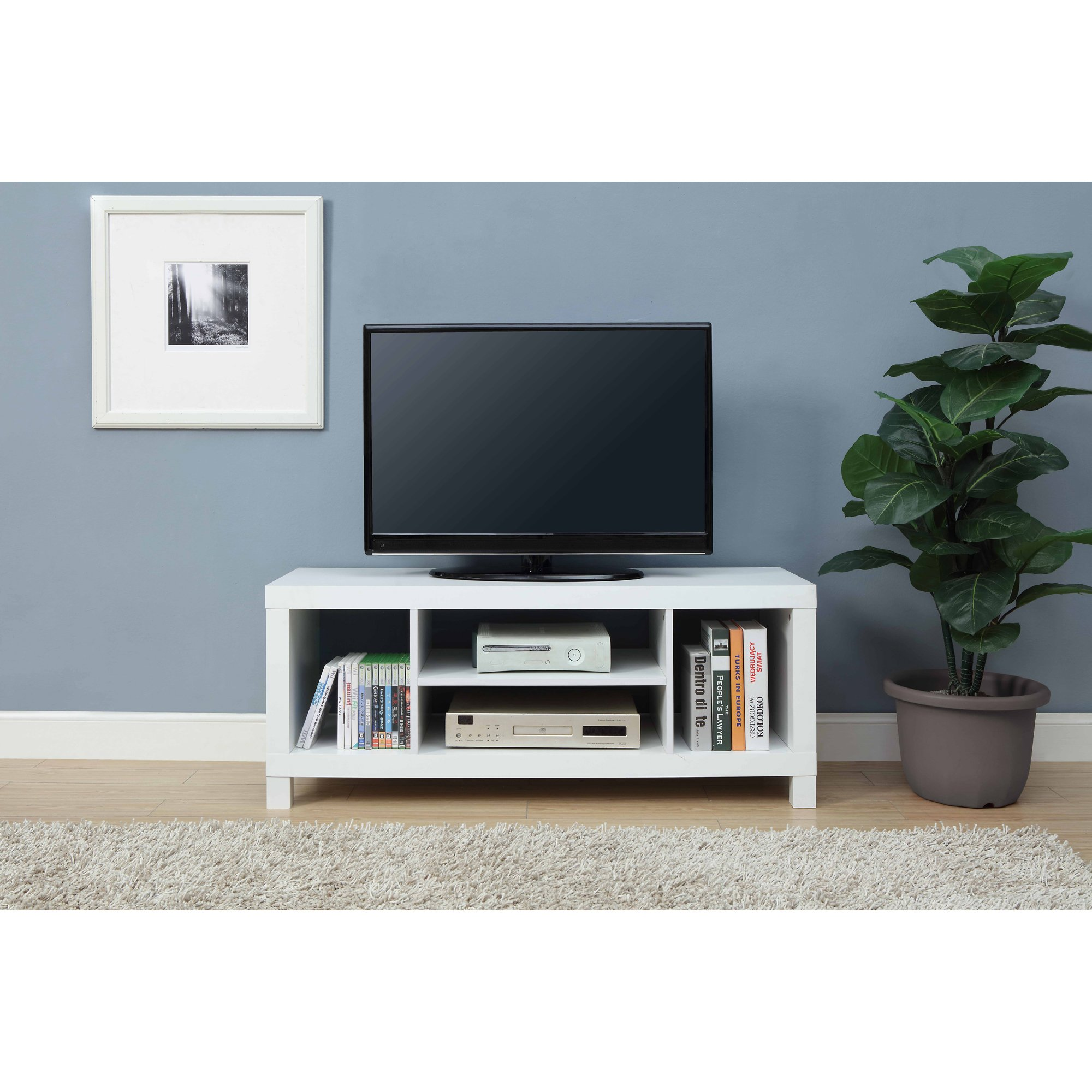 Mainstay.. TV Stand for TVs up to 42'', Dimension: 47.24 x 15.75 x 19.09 Inches (White)