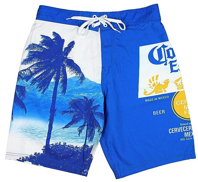 ea46fd80b2 bioworld Corona Extra Bottle Label & Palm Trees Men's Blue Swim Board Shorts  (Medium)