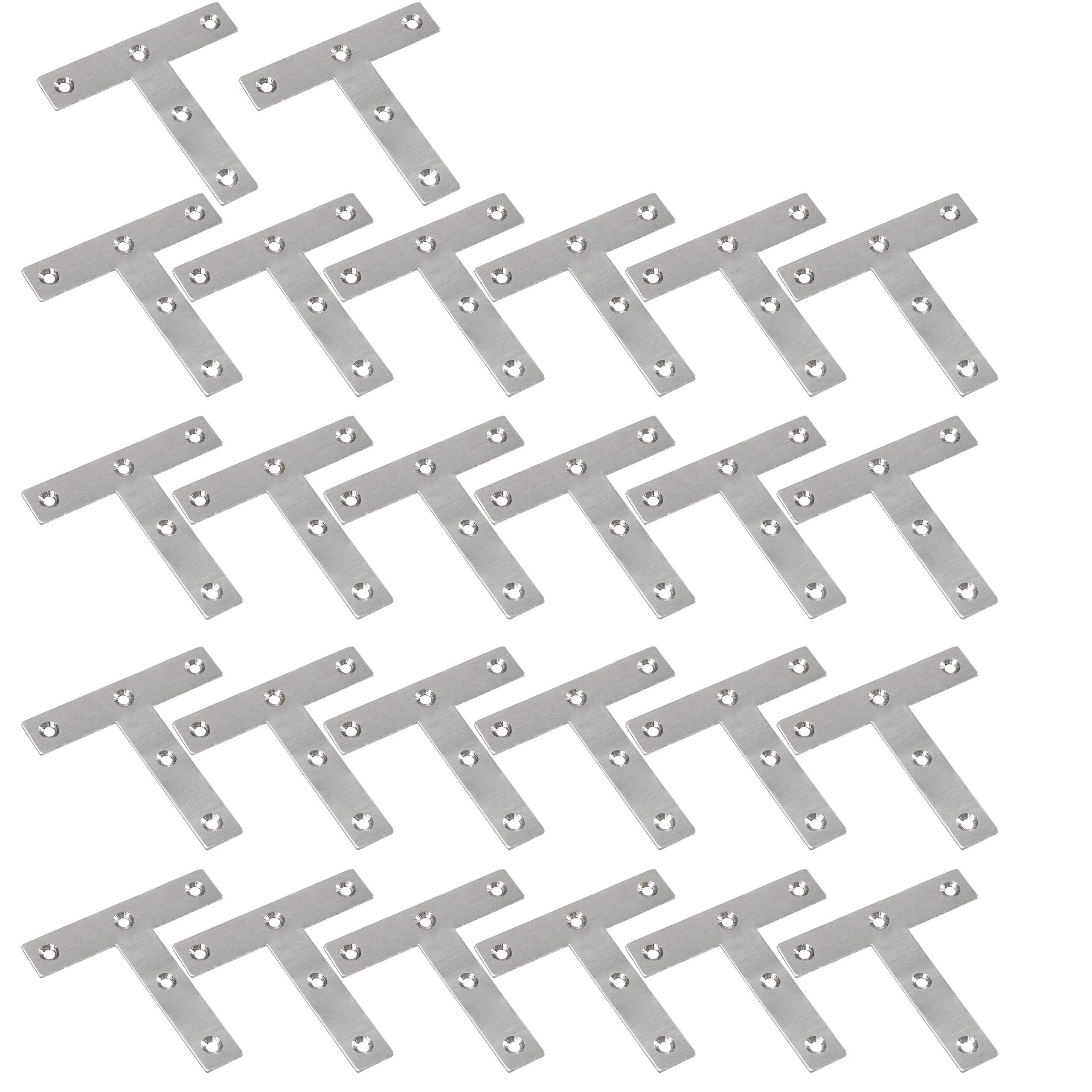 WEBI Heavy Duty Stainless Steel Corner Braces,T Shape Brackets, Joint Fastener, Shelf Support for Wood Furniture, Chests, Screens, Windows, Brushed Finish,26 Pcs,PMJM-T-80X80