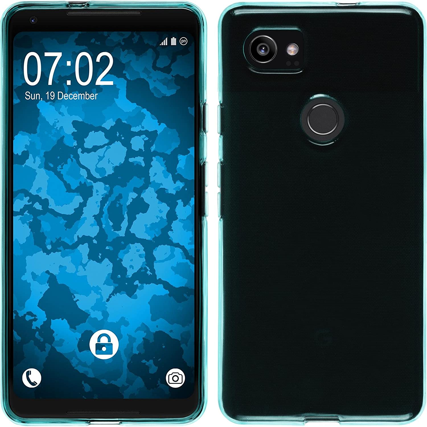 brand new 2ab39 7f81e PhoneNatic Silicone Case for Google Pixel 2 XL Transparent Turquoise -  Cover + Protective foils