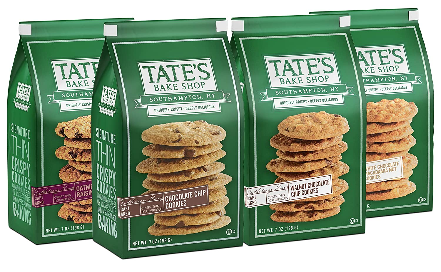 Tate's Bake Shop Thin & Crispy Cookies Variety Pack, 7 Oz, 4Count, 7 Ounce, 4 Count