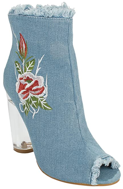 Women Robin Denim Zipper Frayed Frizzy Floral Embroidered Block Clear Perspex Heel Ankle Bootie