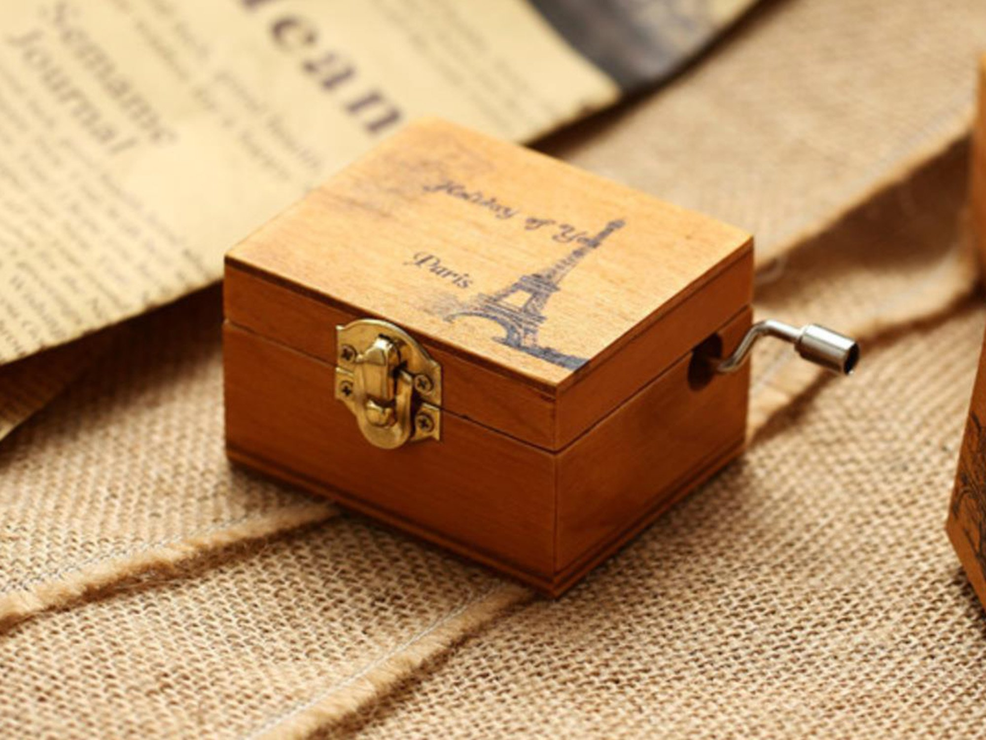 ACCOCO Personalizable Wood Musical Box Music Box Melody Carrying You from Castle in The Sky (The Paris)