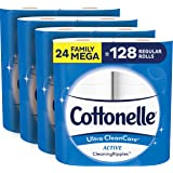 Cottonelle Ultra CleanCare Soft Toilet Paper with Active Cleaning Ripples, 24 Family Mega Rolls, Strong Bath Tissue (24 Famil