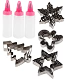 Christmas Cookie Cutter Kit - Set of 21 Stainless Steel Biscuit Cutters with Decorating Squeeze Bottles Set, Star, Tree, Gingerbread Man, Snowflake Designs, Holiday Baking, Molding, Fondant Stamper