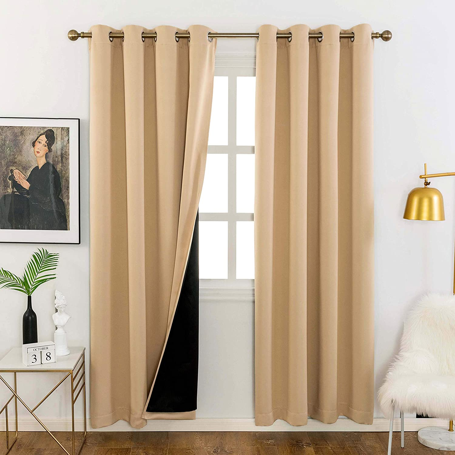 Home Brilliant Full Blackout Curtain Panels Complete Blackout Draperies with Black Liner for Short Window (Biscotti Beige, Set of 2 Pcs, 52 by 63inch)