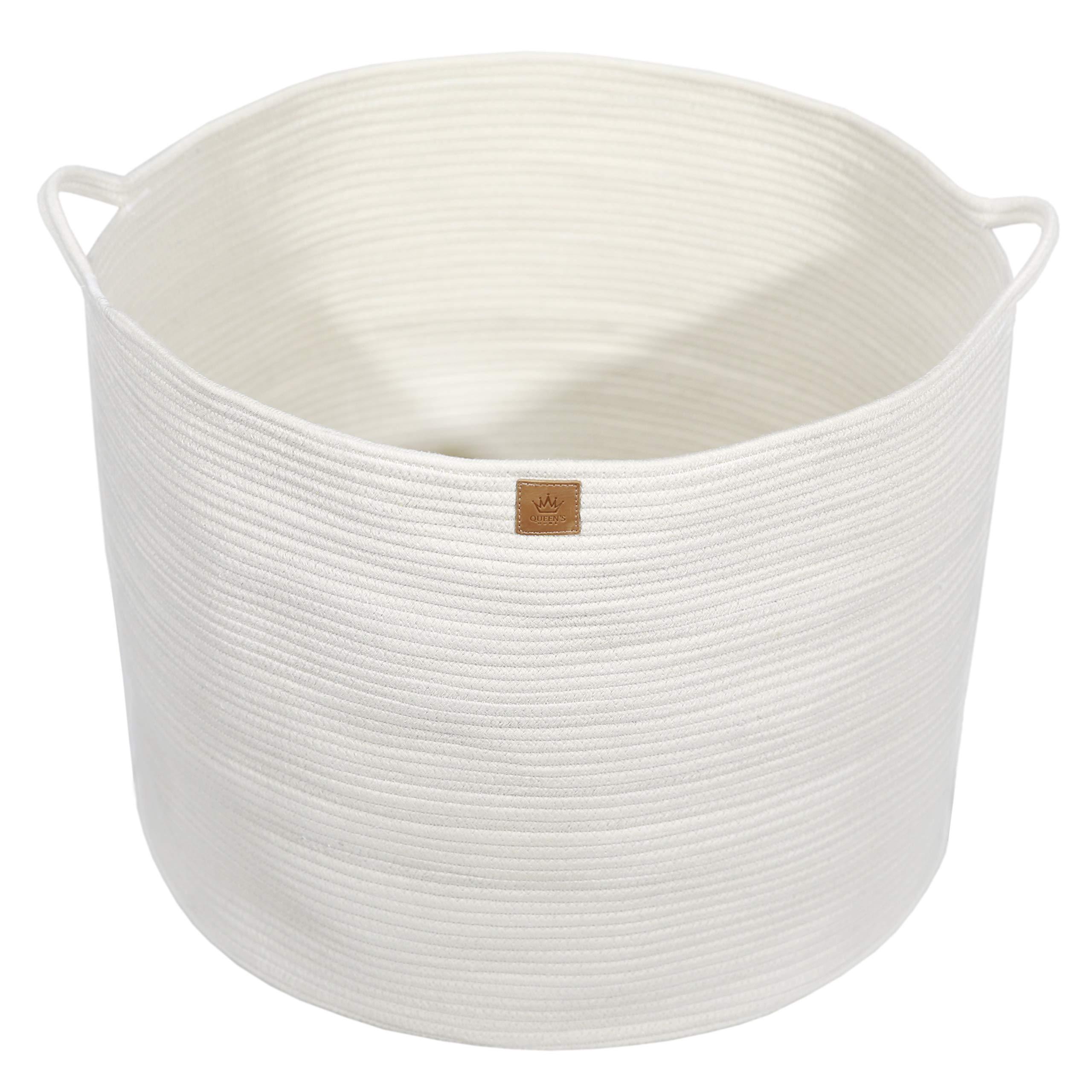 Queen's Home XXXLarge Cotton Rope Basket - 22''x22''x18'' Woven Round Baskets with Handles - Baby Laundry Basket for Kids Toy Towels Blanket Comforter Planter - Decorative Storage Basket Nursery Bin