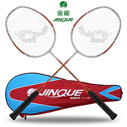 cd53f7938a Amazon.com : Jinque Badminton Rackets 2-player Beginners Practice Racquets  Lightweight Badminton Racquets with Carrying Bag for Kids and Adults -  Junior ...