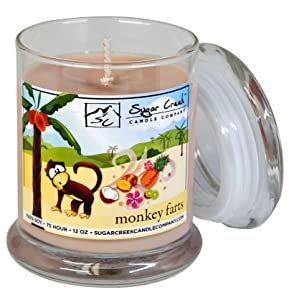 Sugar Creek Candles | Monkey Farts (Tropical Fruit Medley) | 100% Natural Soy Wax, Non-Toxic | Made in USA | 75-Hours Burn Time (12 oz. Heavy Glass)