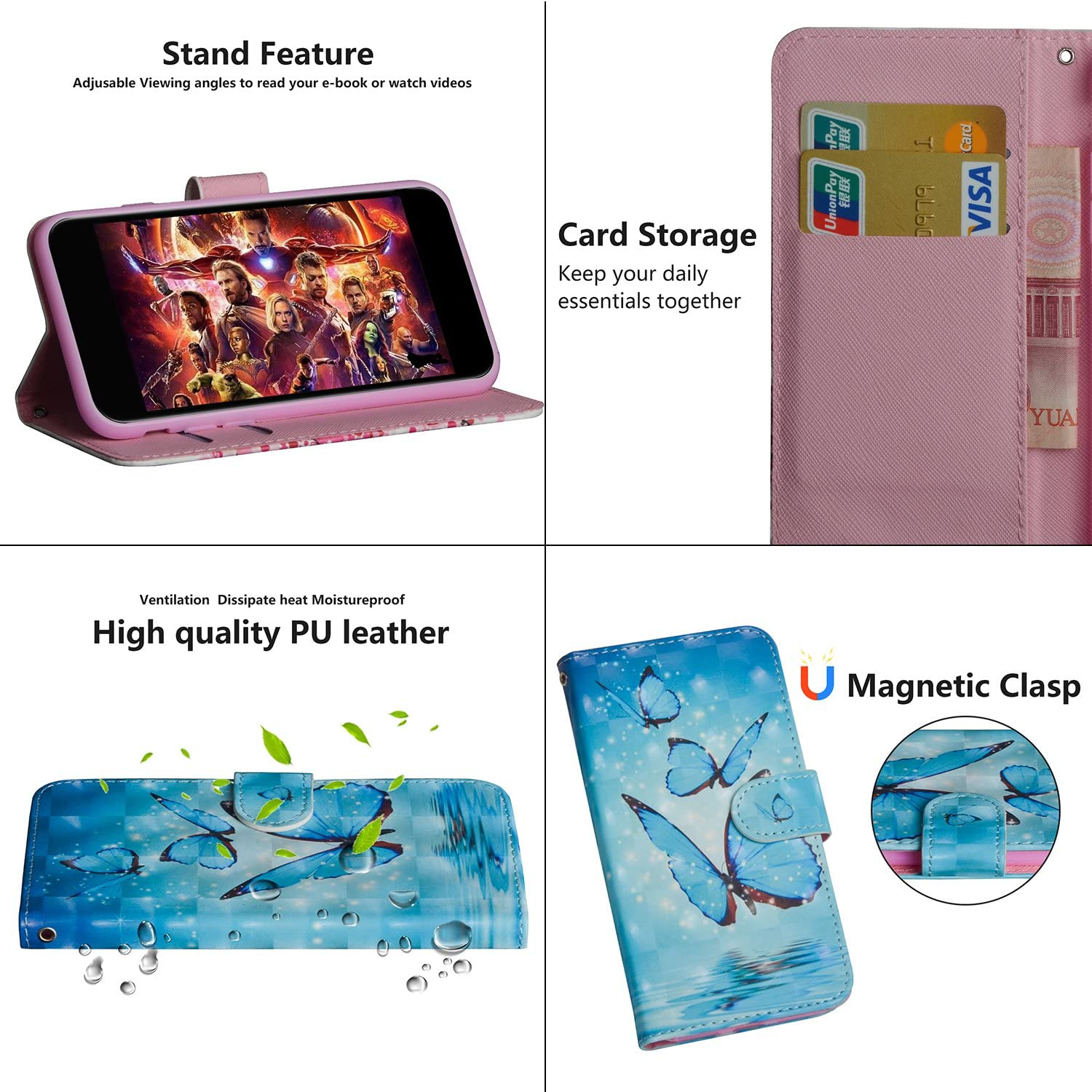 HMTECH Samsung Galaxy A40 Case Samsung Galaxy A40 Phone Case Cover 3D Cute Cat Flower PU Leather Flip Notebook Wallet Case Magnetic Stand Card Slot Folio Bumper Case for Samsung Galaxy A40,YX Cat Tree