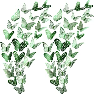72 Pieces 3D Butterfly Wall Decals Sticker Wall Decal Decor Art Decorative Sticker 3 Sizes for Room Home Nursery Classroom Offices Kids Girl Boy Bedroom Bathroom Living Room Decor (Light Green)