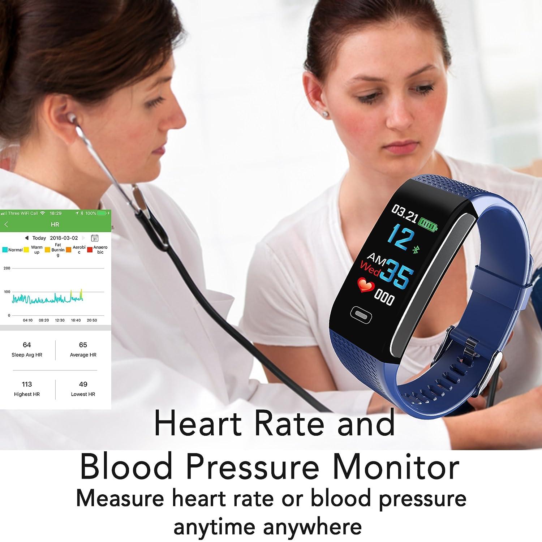Napperband - Reloj de pulsera de actividad deportiva con monitor de frecuencia cardíaca, presión arterial, seguimiento del sueño, contador de calorías, ...
