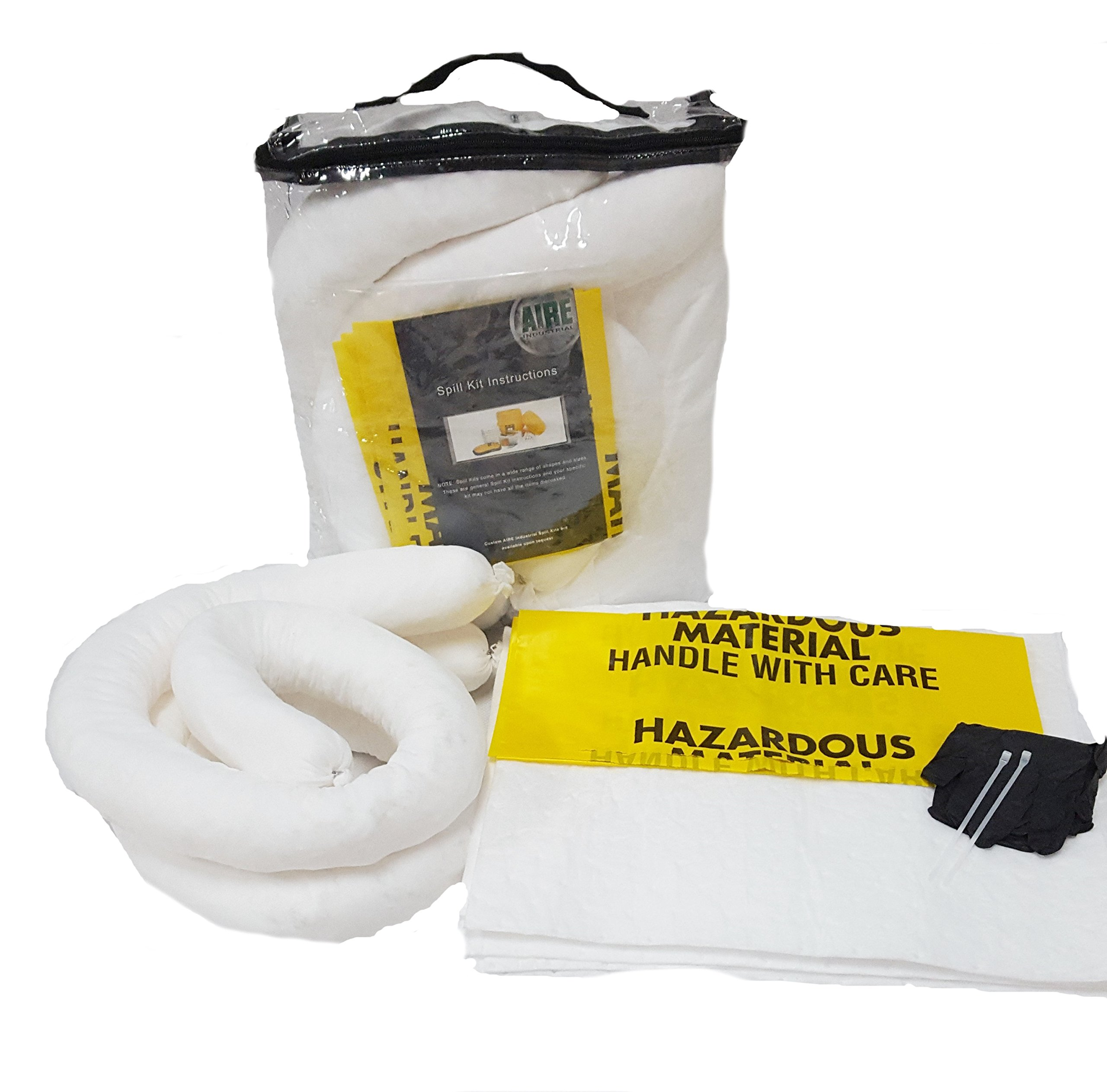 AIRE INDUSTRIAL 942-006455 Spill Kit Oil Economy Portable, 5 gal, 5 gal, Clear PVC