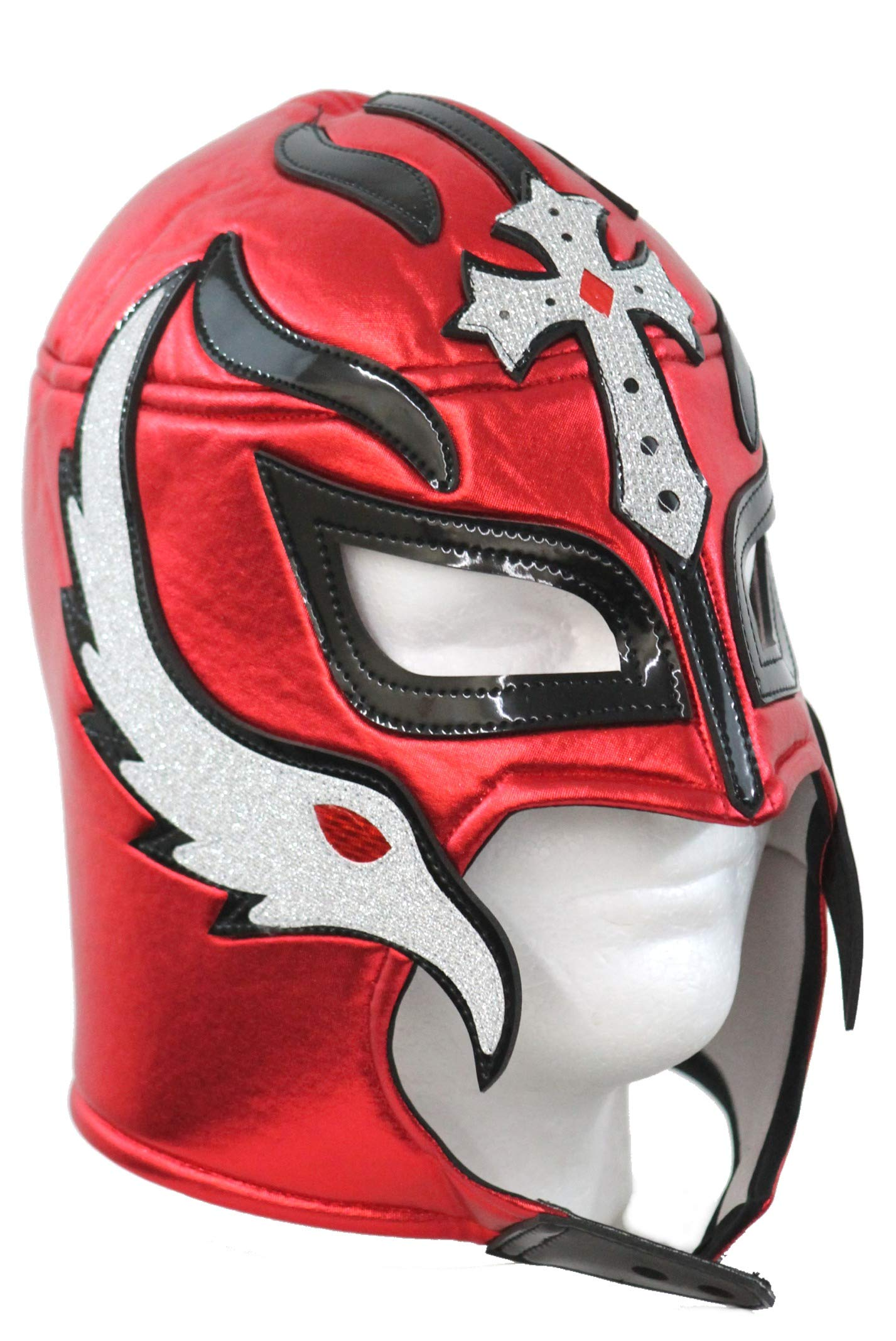 Rey Mysterio Lucha Libre Wrestling Mask (pro-fit) Costume Wear- Red Black by Leos Imports