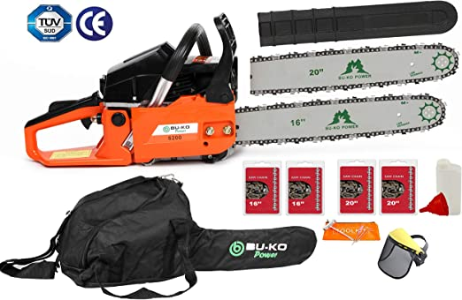 """Bag+Cover UK Petrol Chainsaw 58cc 20/"""" Bar E-Start Chain Saw Tree Pruning Chains"""
