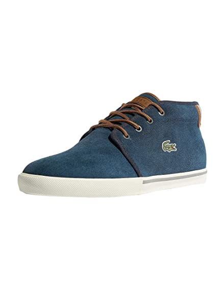 2c1312fb8a5a Lacoste Ampthill 318 1 CAM High Suede Trainers in Navy Blue   Tan Brown  736CAM0004 NT1
